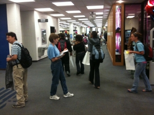People getting a warm welcome as they enter Extravaganza 2010!