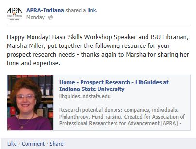 ARPA-Facebook link to ISU LibGuide