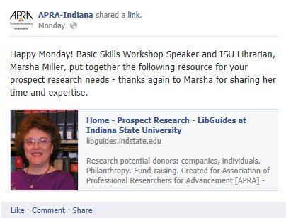 ARPA-Facebook link to ISU LibGuide