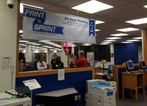 Printers on First Floor - View from Circulation towards RefDesk - A new student tour with Steve Hardin in progress