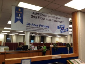 Printing Banner over 1st floor Printers - View from RefDesk towards Circ Desk