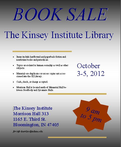 Kinsey Institute Book Sale