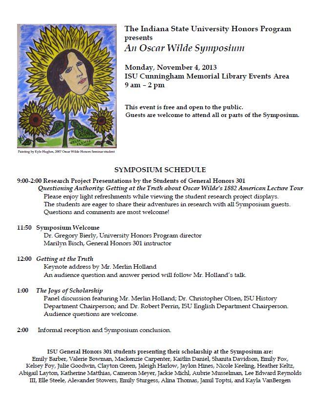 Oscar Wilde Symposium 2013
