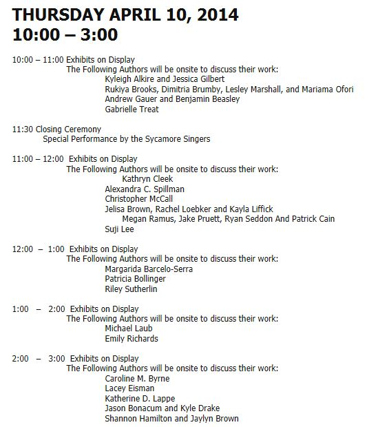 2014 Exposium Schedule - Thursday