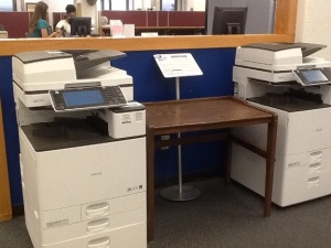 New printers in the Library - Across from the Library Information Services Desk